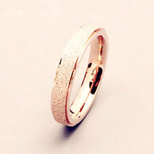 Newly Men Women Wedding Band Ring Rose Gold Silver Black Frosted Stainless Steel