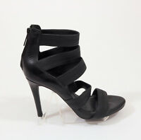 US 6.5 Joie Black Leather Zipper Back Stilettos US 6.5