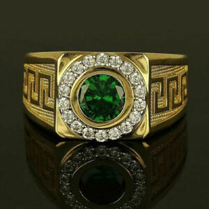 14K YELLOW GOLD FILLED ENGAGEMENT PARTY GIFT HALO STYLE RING 1.7CT GREEN EMERALD