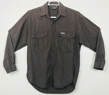 SILVER HAWK Mens Size L Brown Blue Plaid Shirt Long Sleeve Button Front