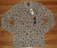 NEW NWT GAP Womens Sweater Cardigan 100% Cotton Leopard Animal Print Brown  *3N