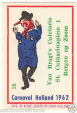 18. MATCHBOX LABEL 1962 CARNAVAL COSTUME NETHERLANDS PAYS BAS Carnival CARD 60s