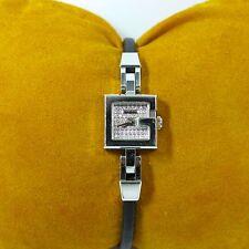 Gucci Women's Watch 102 Stainless/Diamonds Silver Dial & Black Satin Strap