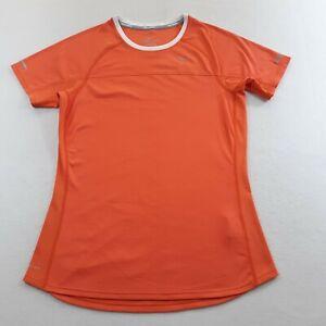 Nike Running Dri-Fit Womens Size Medium Orange Jogger T-Shirt Semi Fitted Miler