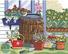 Cross Stitch Kit ~ Janlynn Flower Garden Rain Barrel and Window Box #017-0110