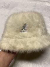 Vintage Authentic Kangol Furgora Ivory Fur Bucket Hat Fuzzy 90s Medium NWOT