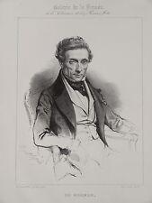 Litho Portrait DUMERSAN THEATRE CHANSONNIER POETE NUMISMATIQUE PLOU ROMANTISME