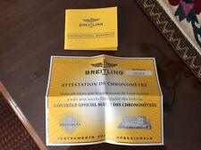 Breitling For Bentley Gt Warranty Book and Cosc Certificate