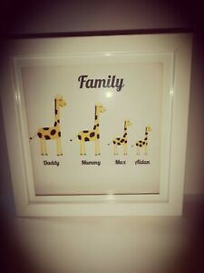 Personalised handmade family picture frame- giraffes with diamante spots-18x18cm
