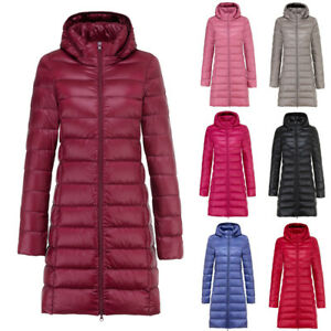 Womens Hooded Quilted Padded Puffer Bubble Warm Ultralight Down Long Jacket Coat