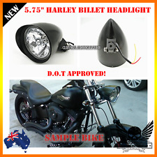 "5.75"" Matt black billet alloy bullet headlight Harley breakout rocker FXSB FXCWX"