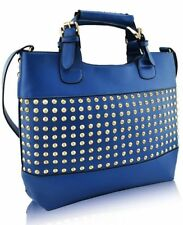 Ladies Fashion Studded Tote Handbag Womens Blue Handbags Large Handbags