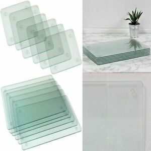 Apollo Clear Glass Rectangle Placemats & Glass Square Coasters Dining Table Mats