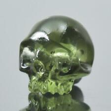 Human Skull Meteor Moldavite Bead 9.11 mm Carving 0.64 g Horizontally Drilled