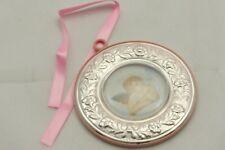 Medaglione culla argento con angioletto alato diametro retro rosa  cm. 10