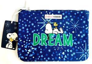 Cath Kidston Snoopy Pouch Bag Blue Dream Purse Peanuts Clutch Wallet Makeup Case