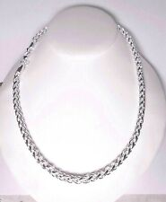 """womens 6mm round spiga wheat rope chain 20"""" 925 sterling silver"""