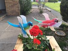 2 X Parrots Whirligig Garden Wind Spinners Patio Ornaments Windmills