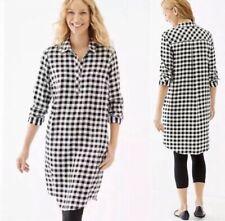 J. Jill Black and White Buffalo Plaid Long Sleeve Shirt Dress Women's L