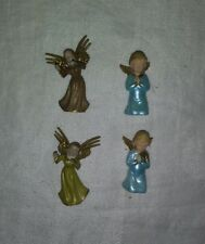 Set of 4 Vintage Hard Plastic Christmas Angels Decoration Ornaments Hong Kong