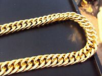 "34""L 15mm Chunky Chain 18K Yellow Gold Plated Necklace & Box Street Mafia Style"