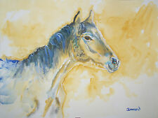 ORIGINAL 9x12 Watercolor Modern Contemporary Horse Decor art painting