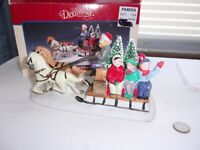 1993 LEMAX DICKENSVALE COUNTRY SLEIGH RIDE, PORCELAIN TEAM OF HORSES ORIG BOX