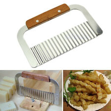 New Stainless Steel Potato Chip Dough Vegetable Crinkle Wavy Cutter Blade Knife