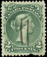 1868 Used Canada VF Scott #24 2c Large Queen Issue Stamp