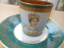 More details for sevres - antique imperial napoleonic demitasse cup and saucer - josephine