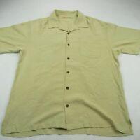 Tommy Bahama Men Polo Shirt Solid Mustard Hawaiian Short Sleeve 100% Silk Large