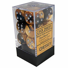 Chessex D6 Cube Gemini Set Of 12 Dice 16mm Black Gold with Silver CHX 26651