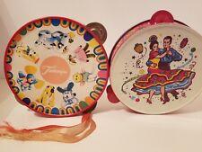 Vintage Children's Animal Tin Metal Toy Tambourine RARE + Spanish Dancers Lot