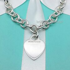 Tiffany & Co Heart Tag Necklace Choker Chain Clasp 925 Sterling Silver Authentic