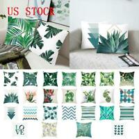 Green Tropical Plant Leaves Pillow Case Soft Sofa Home Car Decor Cushion Cover S