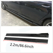 2.2M Universal Lower Side Skirts Body Kit Rocker Panel Extension Lip Glossy BLK