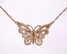 Black Hills Gold 10 kt 12 kt Large Butterfly Pendant Necklace Solid 10 kt Chain