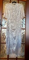 STUNNING BIBA SEQUIN DRESS Ladies Art Deco Blush Ruched Silver Gown L UK 14 NWT
