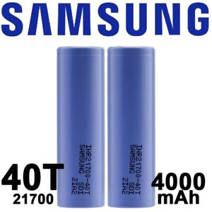 2 X Samsung INR 21700 40T Rechargeable 4000mAh 30A Li-Ion  New Gen-NEVER USED