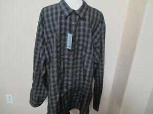 NWT VAN HEUSEN Micro Smooth  Dark Gray Check Dress Shirt XXL 18 18-1/2