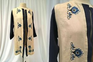 Arts and Crafts Era Linen Tunic w Hand Embroidered Blue/BlackMotifs As Is, Sz L