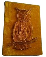Vintage Mid Century OWL Velvet Nail Wire Art Picture Wall Hanging 1970's