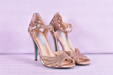 Women's Betsy Johnson Tee Glitter Dress Sandals, Champagne Tan, 6M