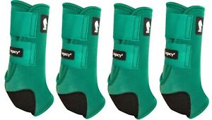 Classic Equine Emerald Green LEGACY2 Horse Front & Hind Horse Support Boots M
