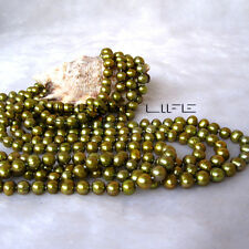 """100"""" 6-8mm Olive Freshwater Pearl Necklace Strand Jewelry Dyed Color UE"""