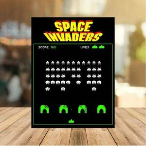 SPACE INVADERS classic 80 METAL WALL sign retro gaming man cave games room BAR