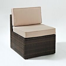 Crosley Palm Harbor Outdoor Wicker Center Chair In Brown With Sand Cushions
