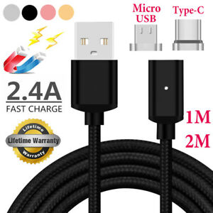 1M 2M Magnetic LED Micro USB Charger Charging Cable Adapter For Android Type-C