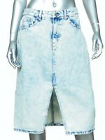 Wild Fable Sz 8 Denim Jean Skirt Acid Wash Knee Length Front Slit NWOT