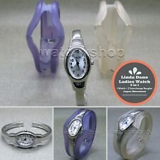 LINDA DANO Silver Women Bangle Wrist Watch Set + 2 Interchange Acrylic Bangle 42